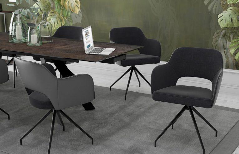 chaise-chic assise pivotante-anthracite-mélange-tissus-et-polyuréthane-ch093g2-2-0