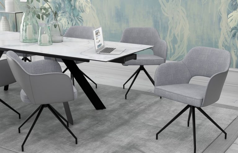 chaise-chic assise pivotante-gris-mélange-tissus-et-polyuréthane-ch093g1-2-0
