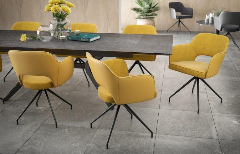 chaise-chic assise pivotante-jaune-ocre-mélange-tissus-et-polyuréthane-ch093j-3-0