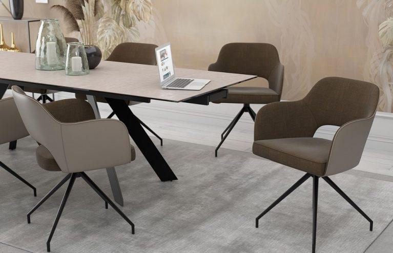 chaise-chic assise pivotante-taupe-mélange-tissus-et-polyuréthane-ch093m2-2-0